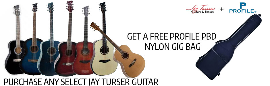 Get a FREE Profile PDB Gig Bag with a purchase of select Jay Turser guitars!